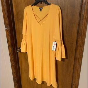 a.n.a Jersey Knit Gold Bell Sleeved Dress